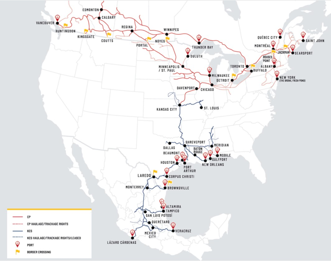 To illustrate rail merger proposals