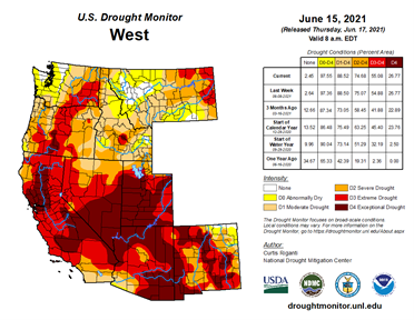 Showing the U.S. Drought Monitor for the Western states.