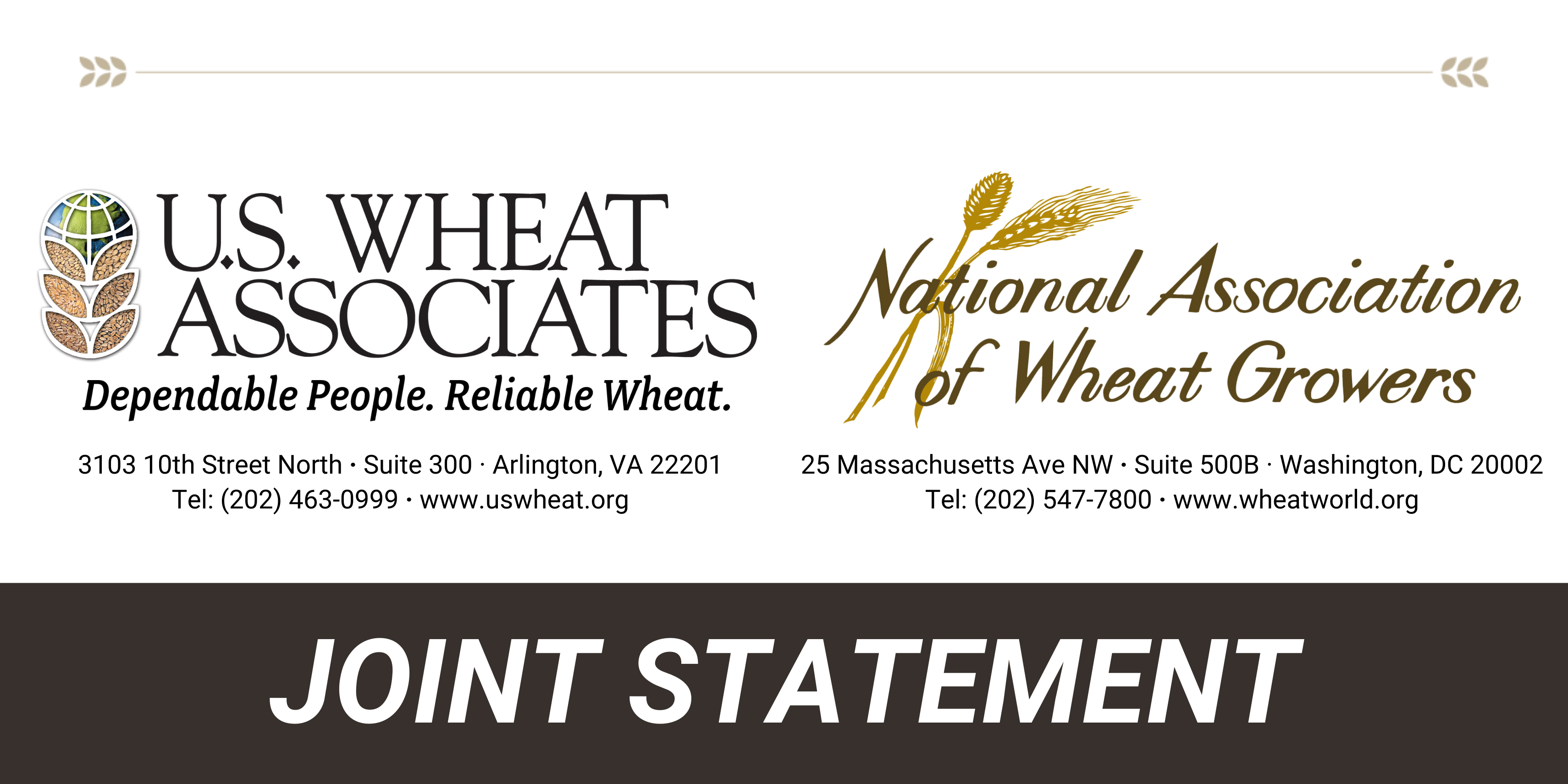 Joint Statement from U.S. Wheat Associates and the National Association of Wheat Growers