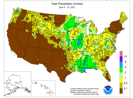 To show rainfall across the U.S. April 4 to 10, 2021
