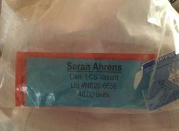 Seed Tag with Sarah Ahrens' name