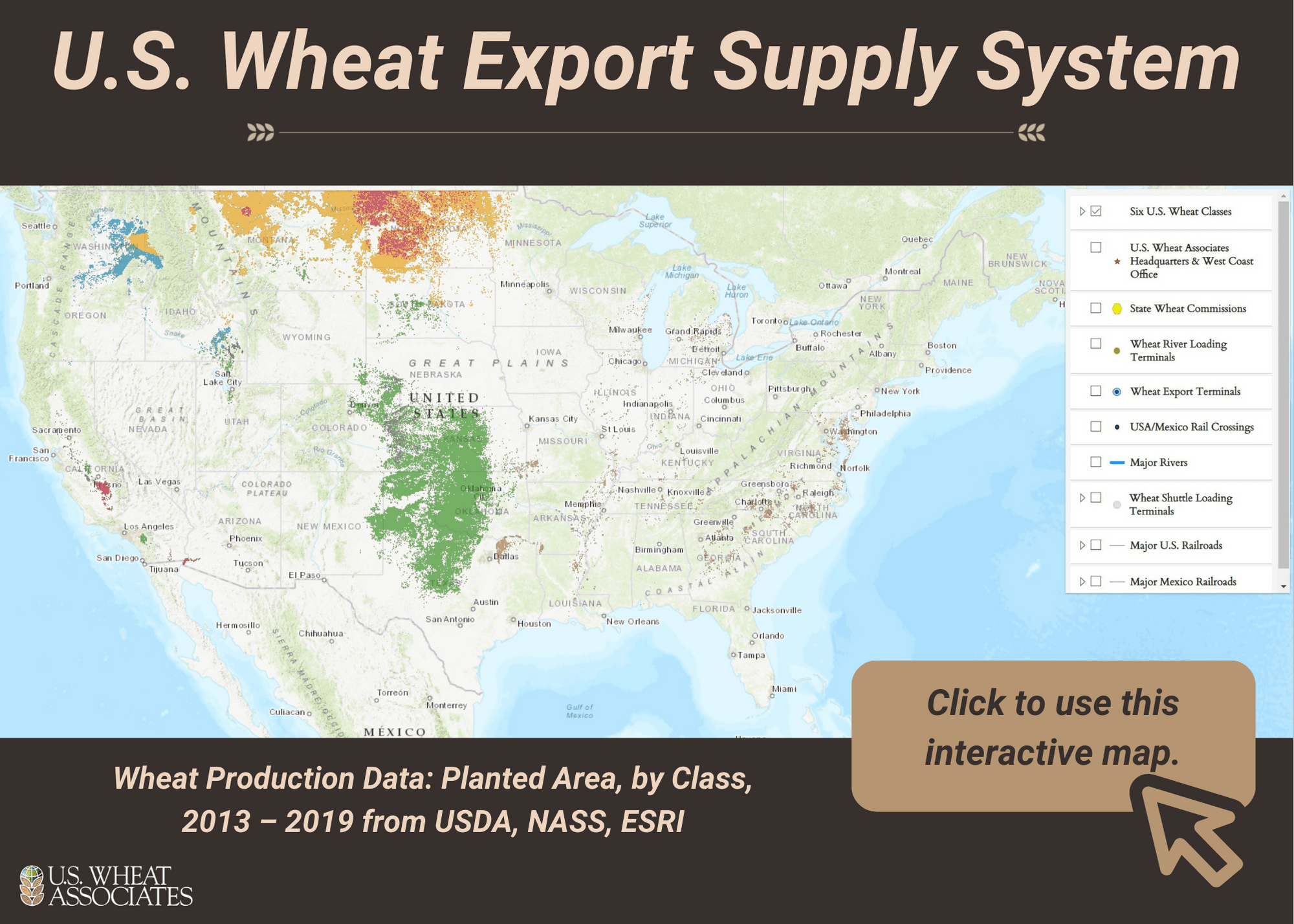 Picture of U.S. wheat export supply map.